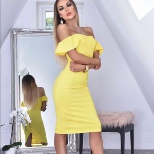 Yellow Bardot Style Frill Sleeve Bodycon Dress